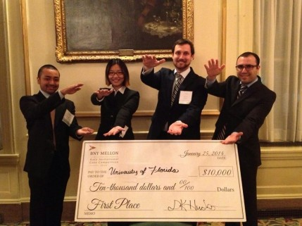From left, Prashant Kansakar, Annmarie Zhu, Devon Grimme and Spencer Siegel outlasted a field of 16 teams to win the BNY Mellon Katz Invitational Case Competition.