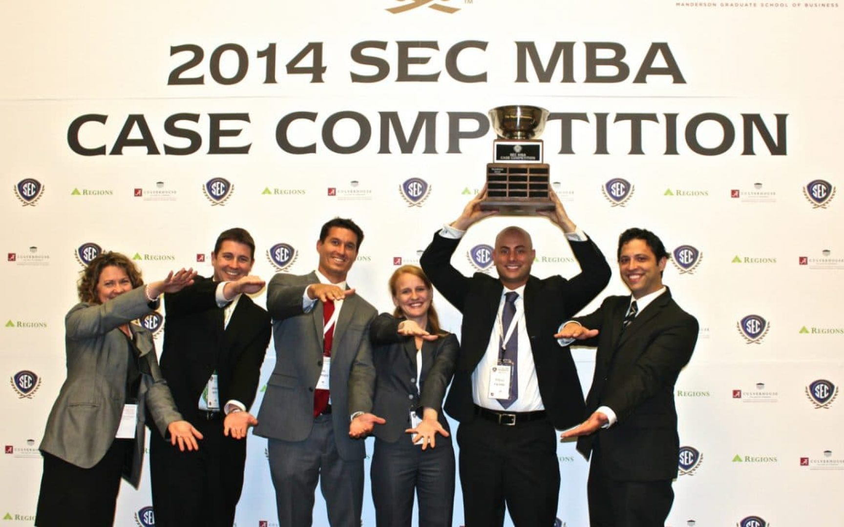 UF MBA team celebrates victory in the SEC Case Competition