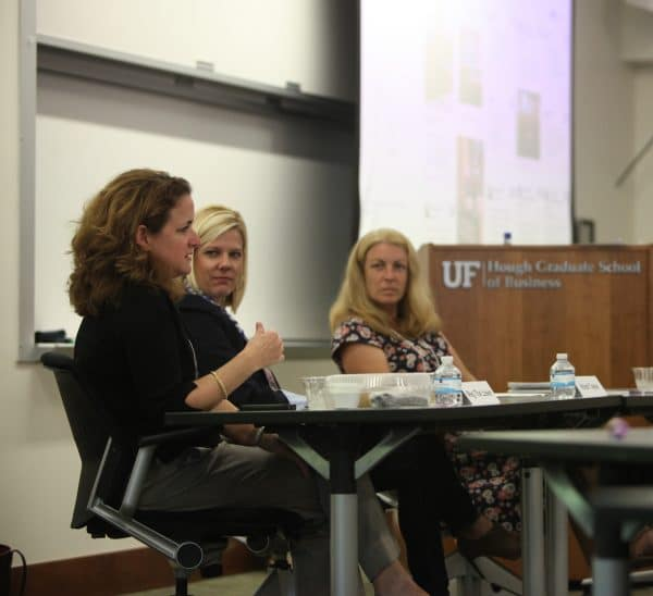 Meg The Losen during the CEI's Women's Summit with panelists Kristi Taylor and Anna Prizzia