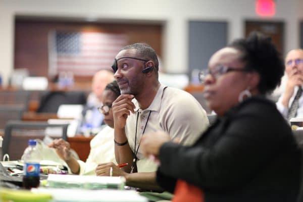 U.S. Navy veteran Quinton Crawford in class