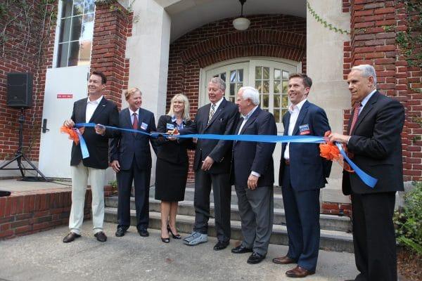 Kelley A. Bergstrom cuts the ribbon celebrating renovated Bergstrom Center for Real Estate Studies