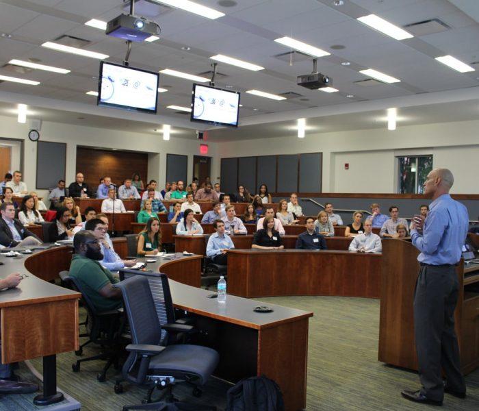Bill Muir addresses students