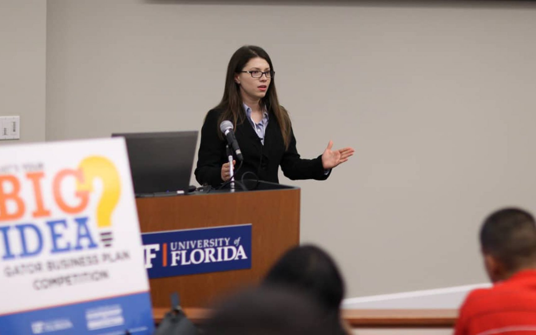Tatiana Salazar presents in the Big Idea Gator Business Plan Competition