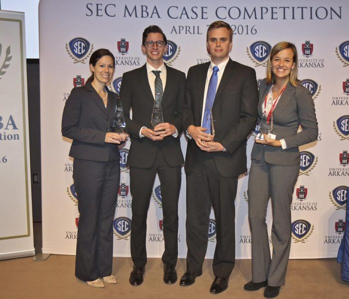 Kate O'Hara, Jonathan Siragusa, John Darnell, Lexie Cegelski at SEC MBA case competition.