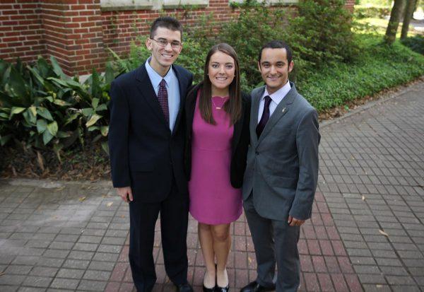 Matthew Schnur, Kelsey Noris, David Nassau, Distinction in Leadership and Service Award