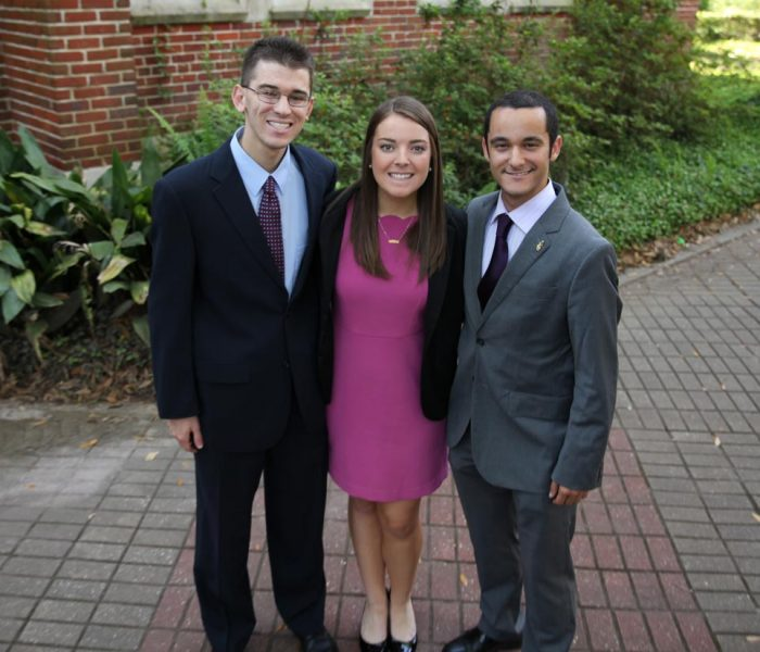 Matthew Schnur, Kelsey Noris, David Nassau, Distinction in Leadership and Service Award