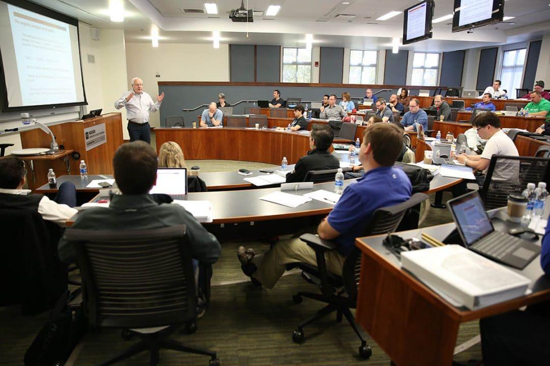 UF professor Brian Gendreau speaks to an MBA class.
