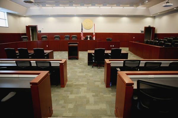 Dean Kraft in one of the College of Law's courtrooms.