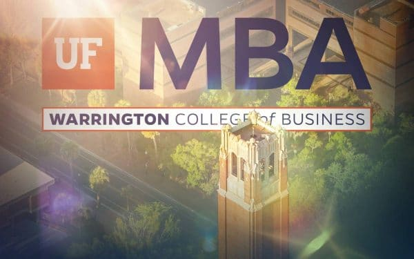 Century Tower with the UF MBA logo