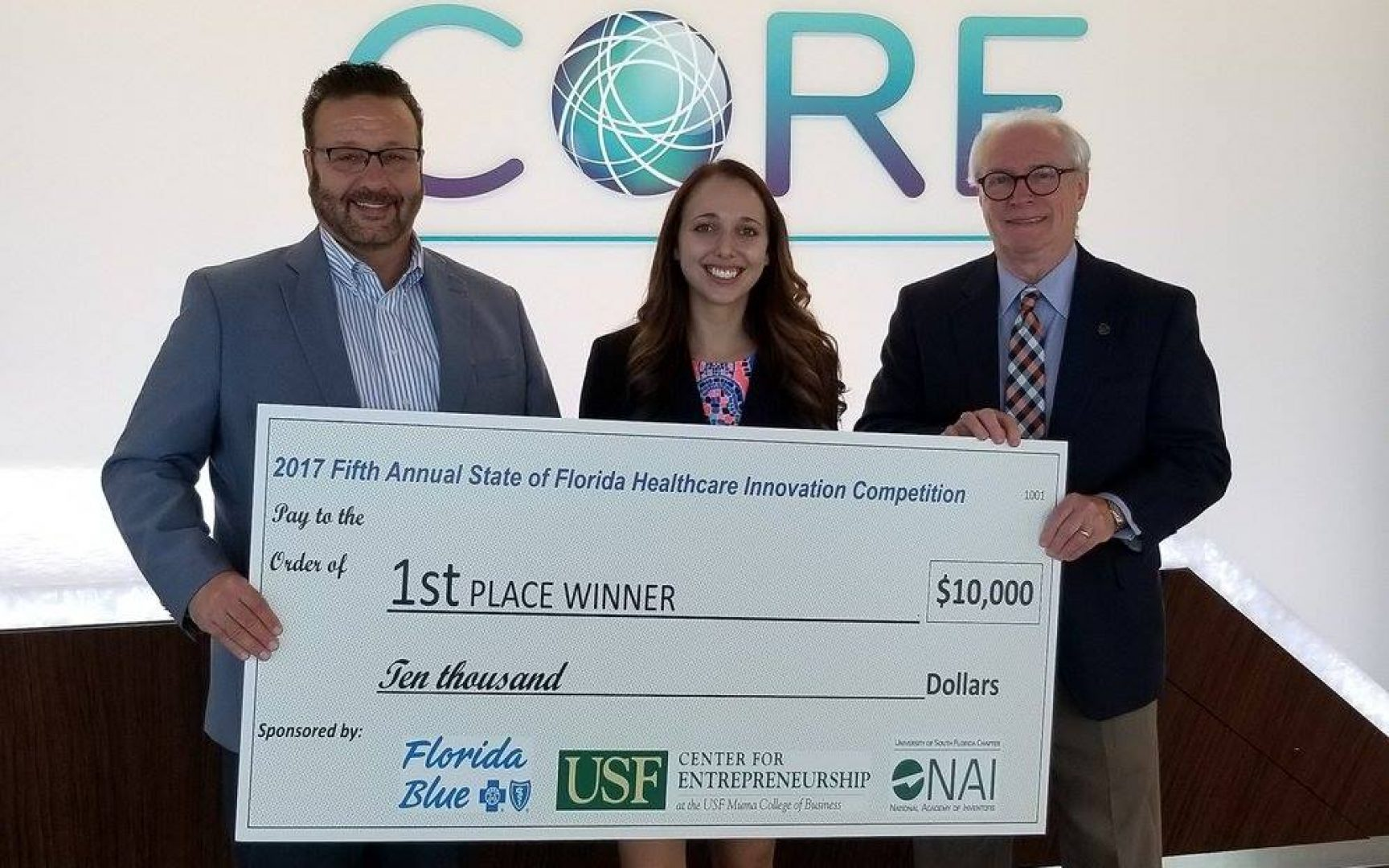 From left: Florida Blue Market President David Pizzo, Lauren Koff, and USF Center for Entrepreneurship Director Dr. Michael W. Fountain.