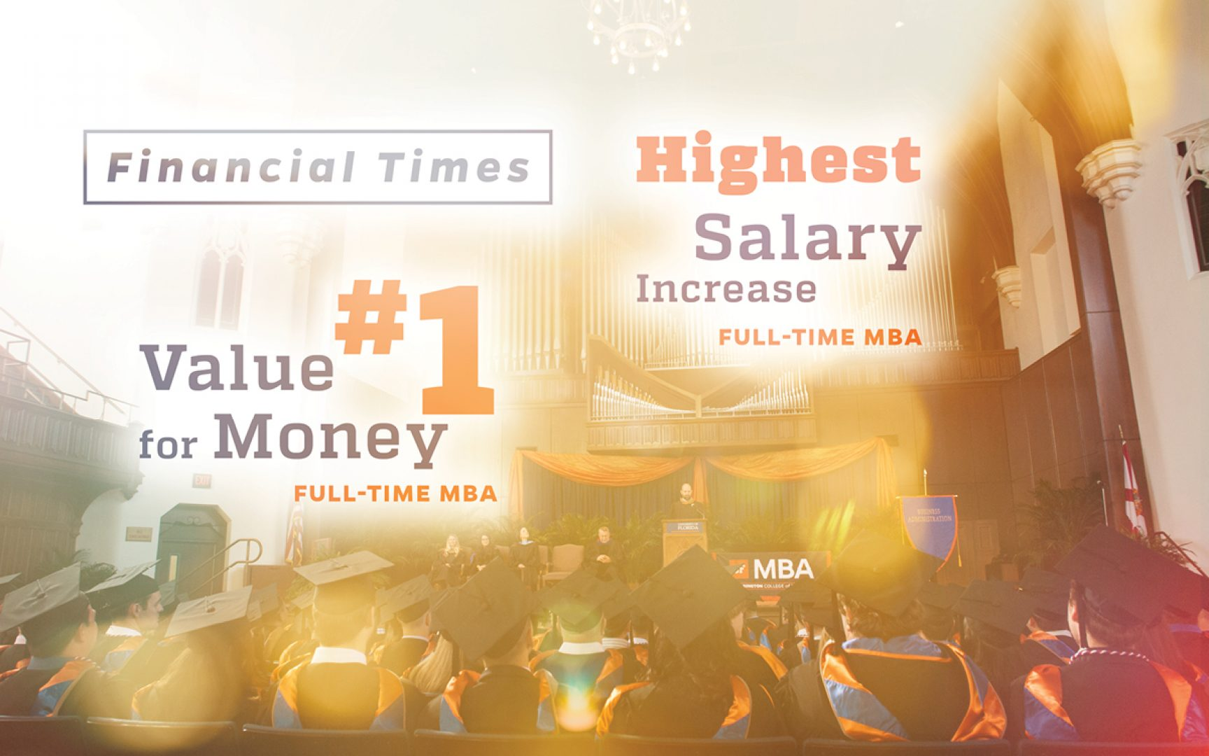 Graphic indicating Financial Times rankings for UF MBA: #1 Value for Money and Highest Salary Increase