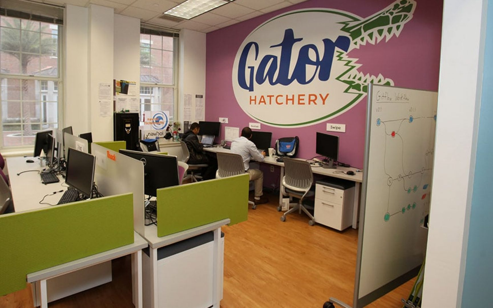 The Gator Hatchery room with work stations