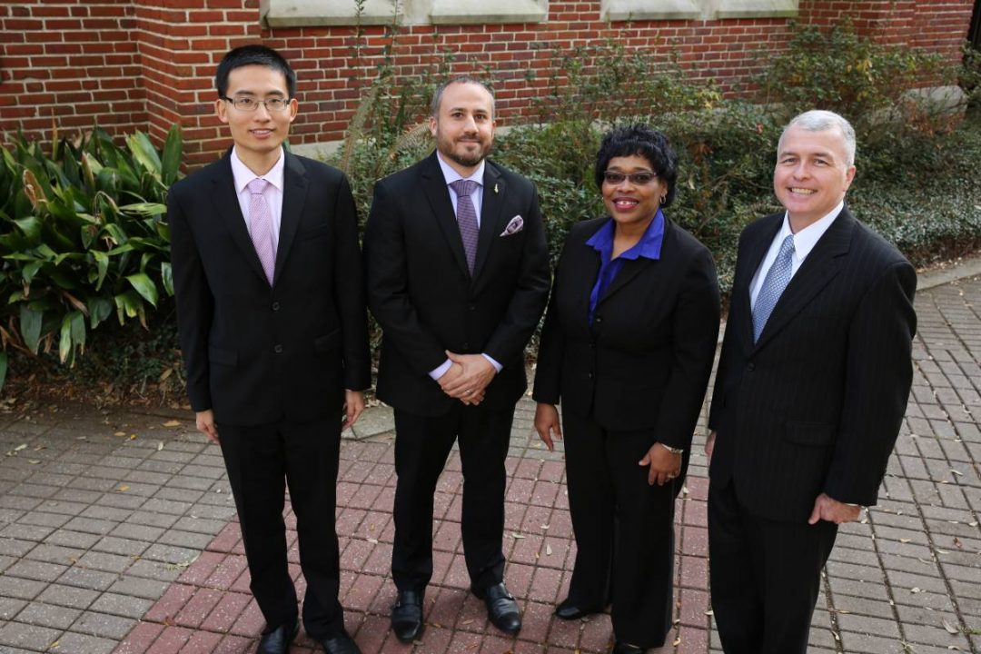 2018 Teaching/Advising Awards winners: Liangfei Qiu, Gus Kreatsoulas, Bernadine Thomas, and Brian Ray
