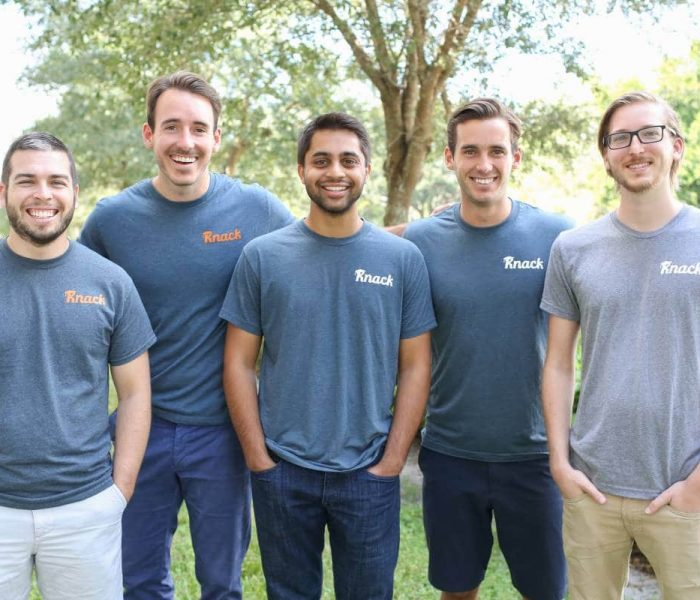 Members of the Knack team from left: CTO David Stoker, CMO Shawn Doyle, CEO Samyr Qureshi, Community Austin Doyle, and CPO Dennis Hansen.