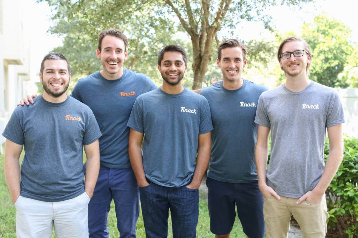 Members of the Knack team: David Stoker, Shawn Doyle, Samyr Qureshi, Austin Doyle and Dennis Hansen.