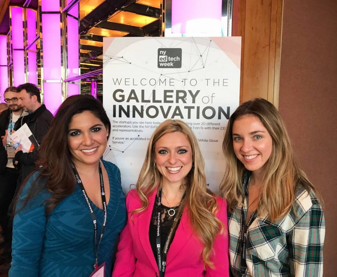 Three women pose for a photo at NY Ed Tech Week