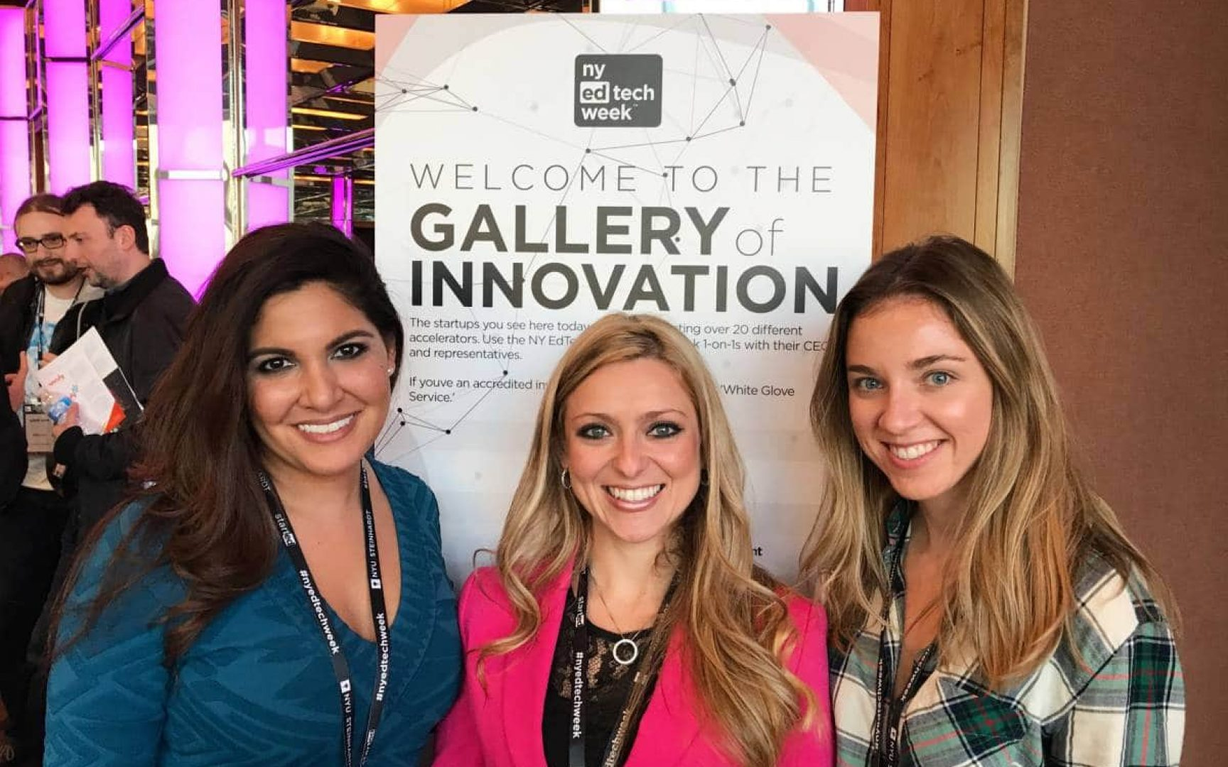 Three women pose for a photo at NY Ed Tech Week