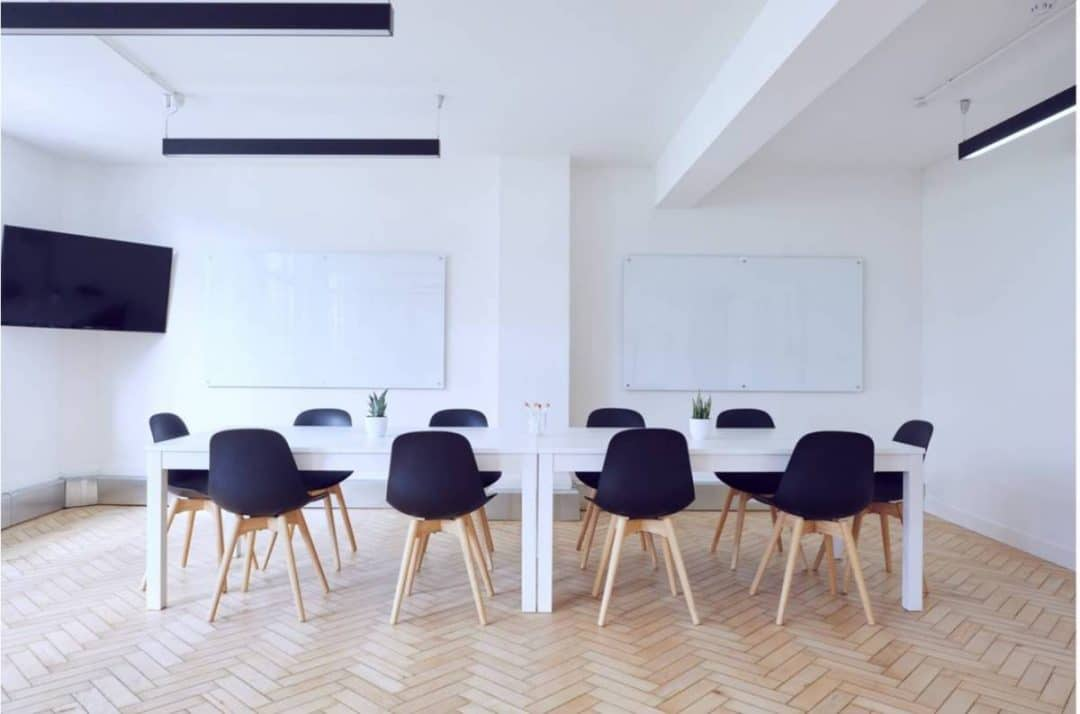 Office boardroom with long conference table