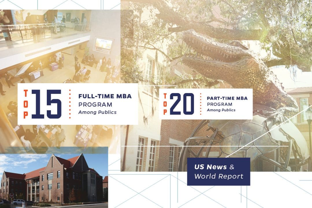 Collage of images of the inside and outside of Hough Hall and the Gator Ubiquity Statue with the text Top 15 Full-Time MBA Program among publics and Top 20 Part-Time MBA program among publics US News and World Report