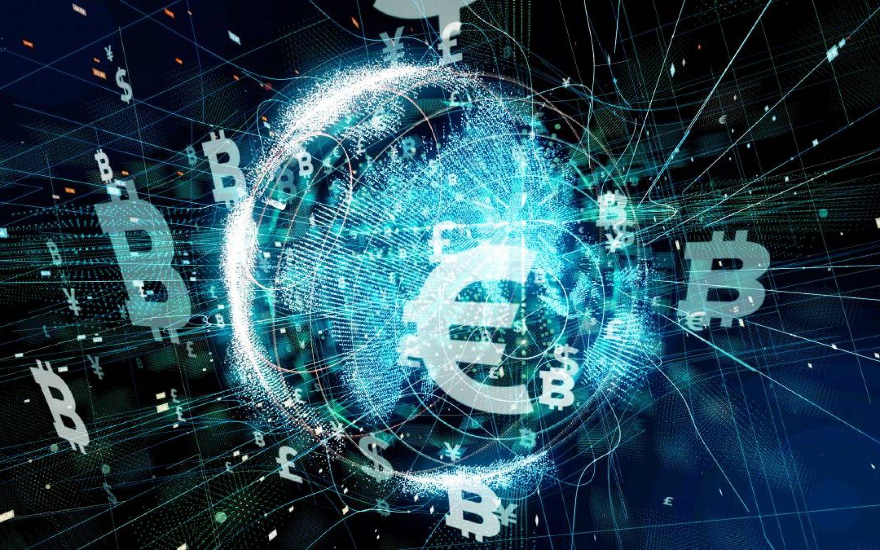 Bitcoin symbols float around a circle