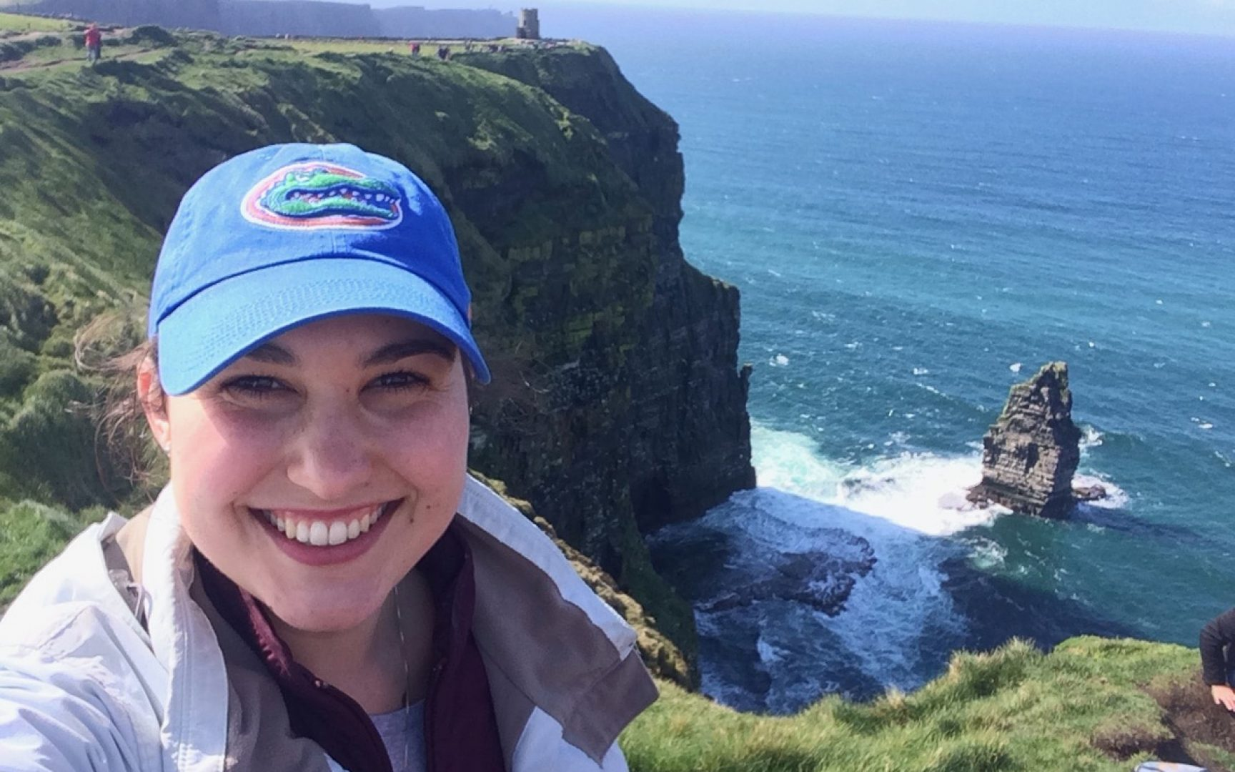 Nelly Wilson takes a selfie at the Cliffs of Moher in Ireland
