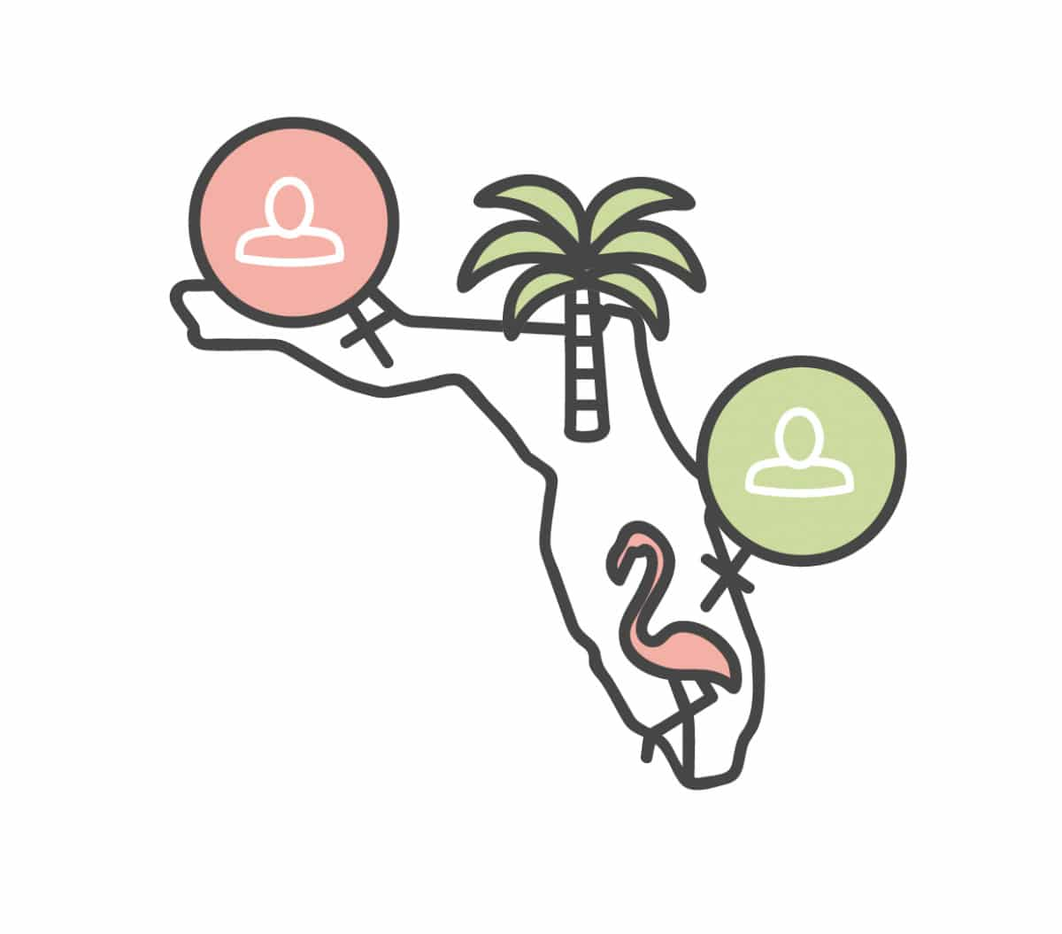 Outline of Florida with pink flamingo and palm tree