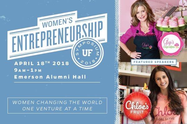 Women's Entrepreneurship Symposium 2018 logo with photos of Gigi Butler and Chloe Epstein