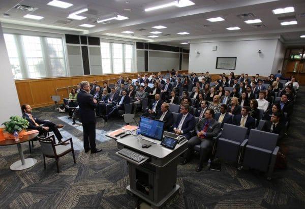 Bill Rogers SunTrust CEO speaks to an auditorium of students