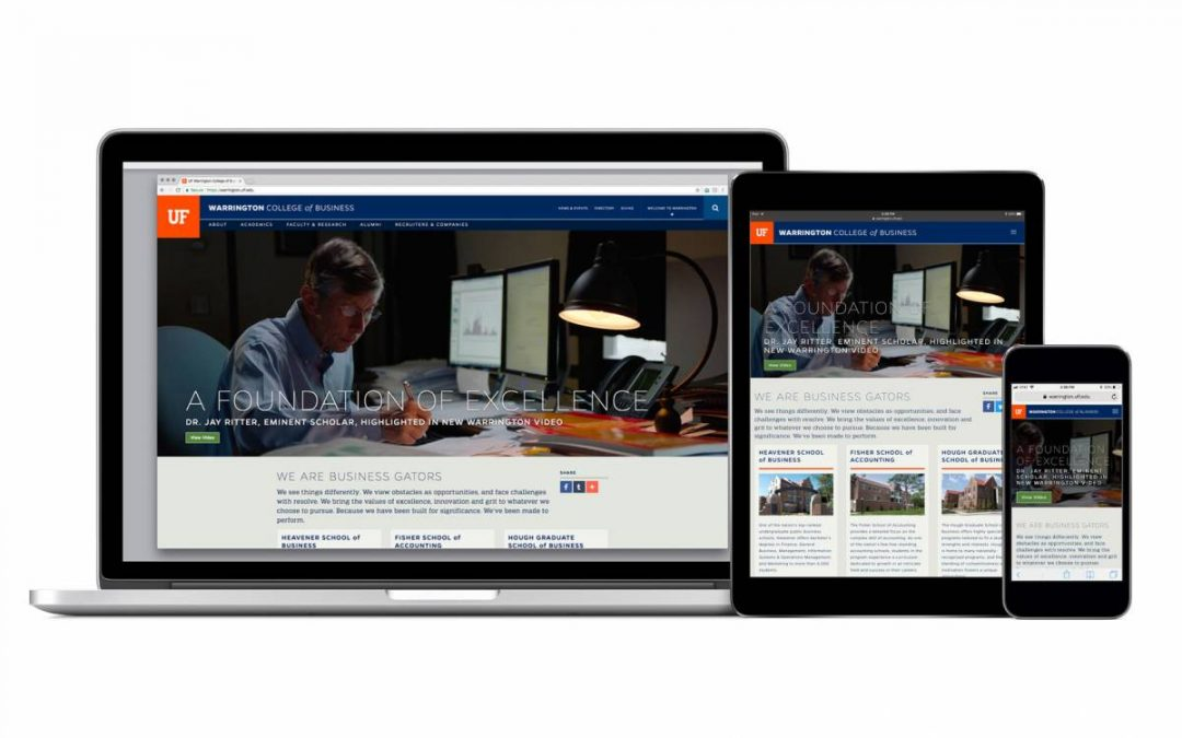 A laptop, iPad and iPhone view of the Warrington College of Business website