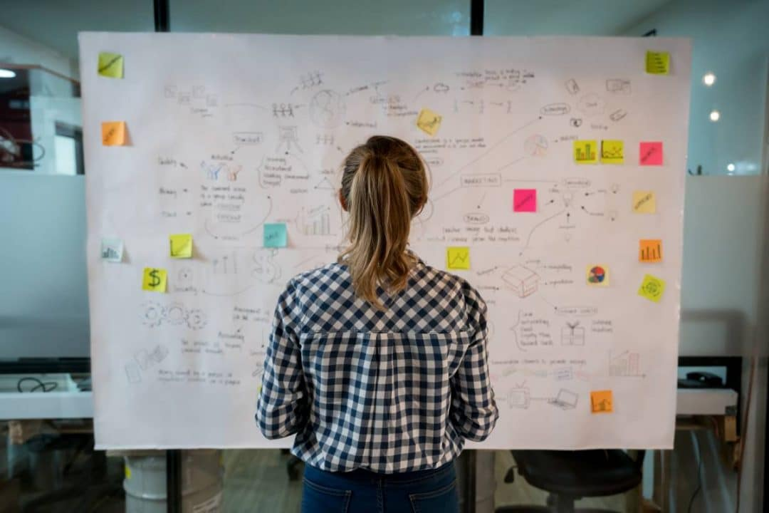 Image from behind of a woman looking at a large board with post it notes and writing