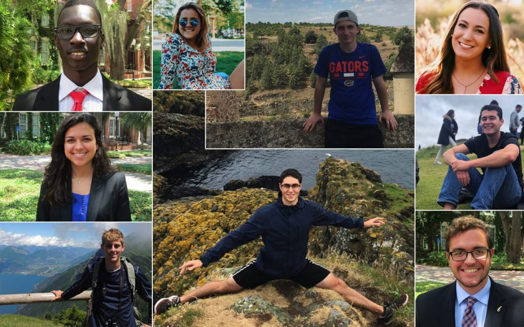 Collage of nine students during their study abroad trips