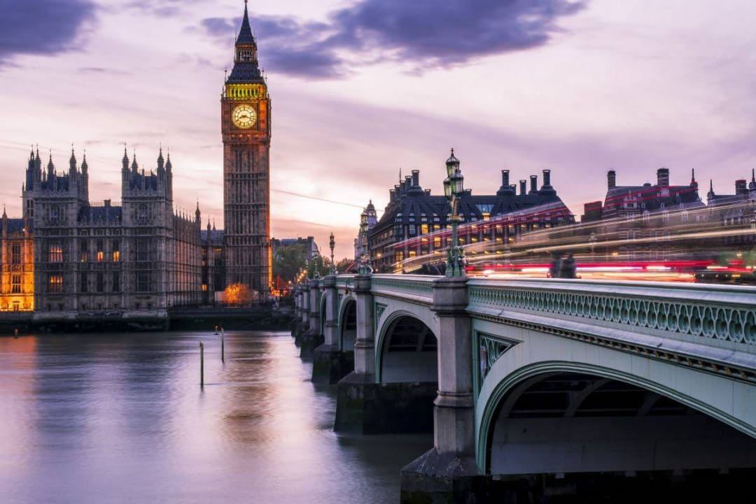 View of Big Ben and Parliament from across a bridge in London