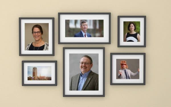 Portraits of five warrington faculty members, two women three men, in frames along with a photo of Century Tower