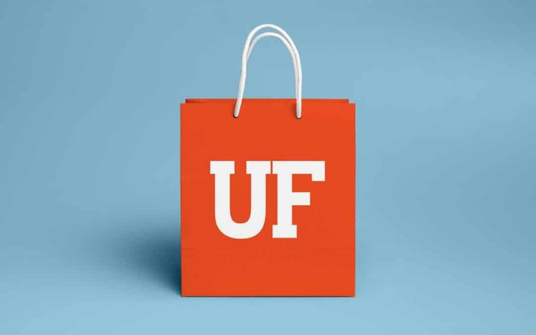 Orange shopping bag with UF logo