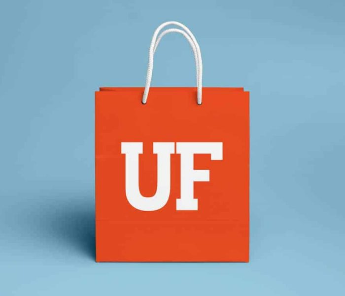 Orange shopping bag with UF logo