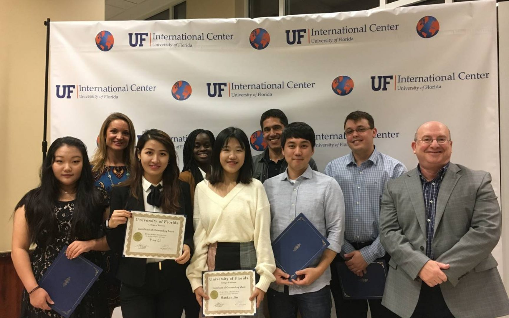 From left to right: Xinyi Pan (BSAc), nominated by Georganne Watson; Yue Li (BSBA), nominated by Jason Ward (not pictured); Hankun Jin (MIB, MS-ISOM), nominated by Ana Portocarrero (not pictured); Sang Kyu Park (Ph.D. -Marketing), nominated by Dr. Aner Sela; Bruno Pintchovski Rodriguez (MS-ISOM), nominated by Jessica Samsom; Joe Rojo, Director of International Programs Heavener School of Business.