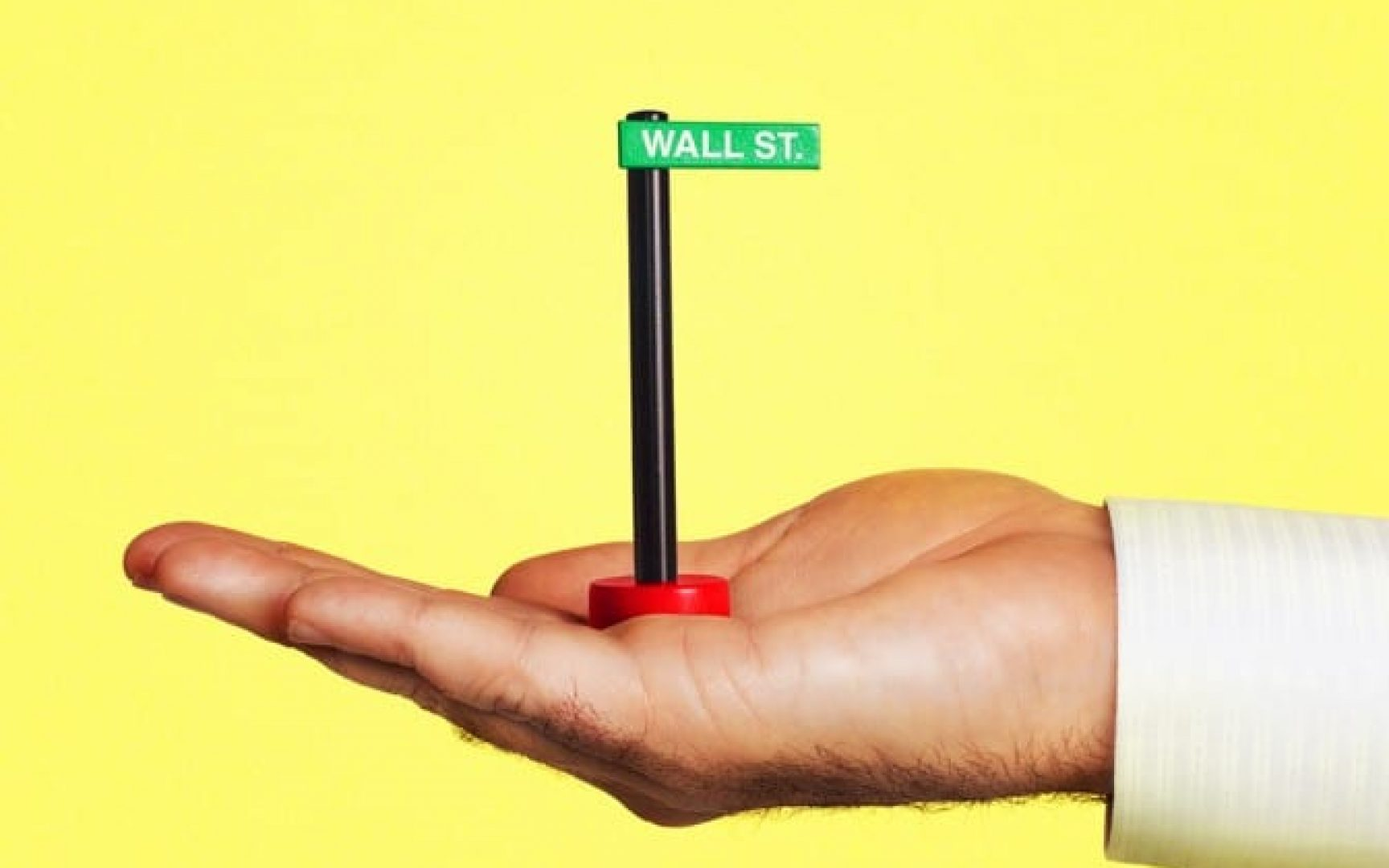 Hand holding Wall Street street sign in palm.