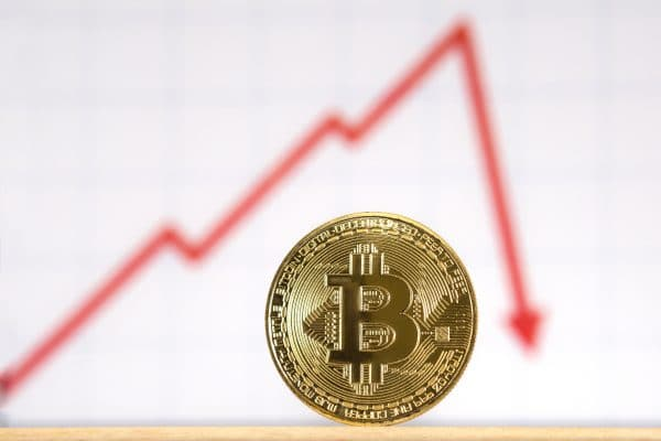 A golden bitcoin in front of a red graph. The graph rises and then sharply drops, indicating a drop in value. The graph is outside the shallow depth of field.