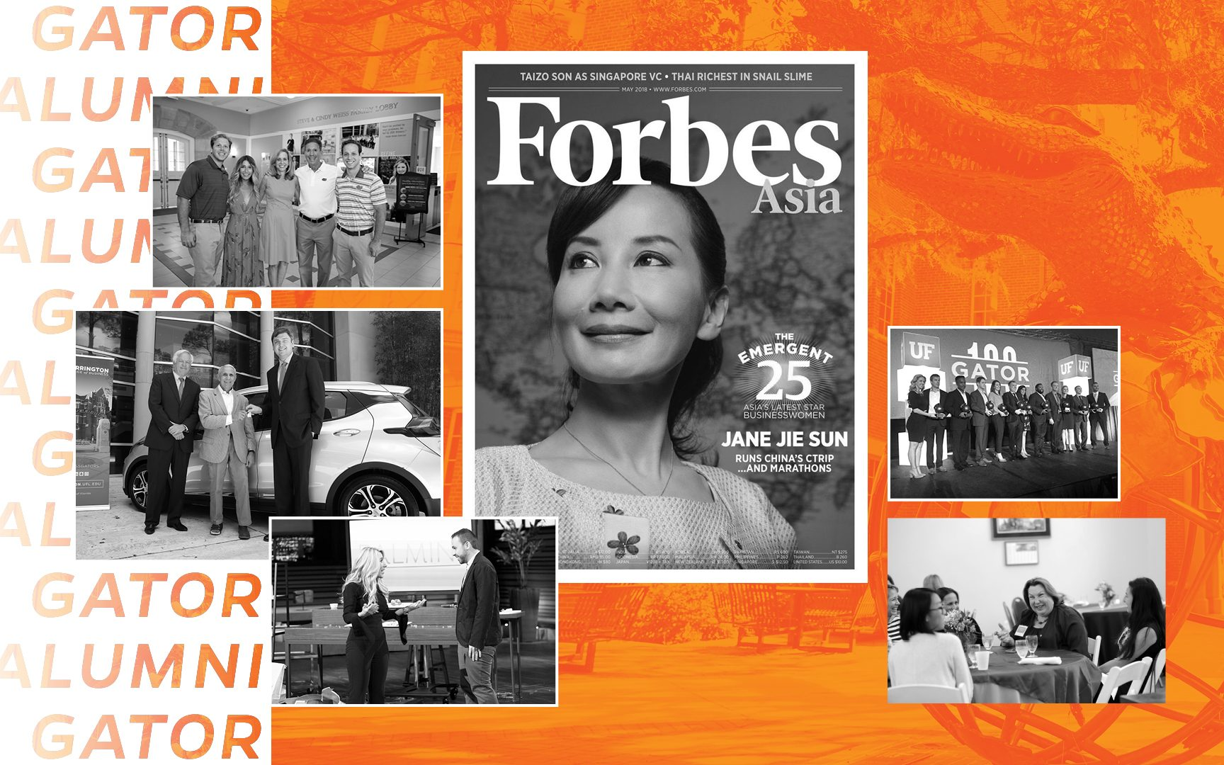 Features Warrington alumni Jane Sun, Alfonso Tejada, Steve Weiss, Andrew Starling, Barbara Jean Raskin and the 2018 Gator 100 winners with an orange background and the Gator Ubiquity Statue.