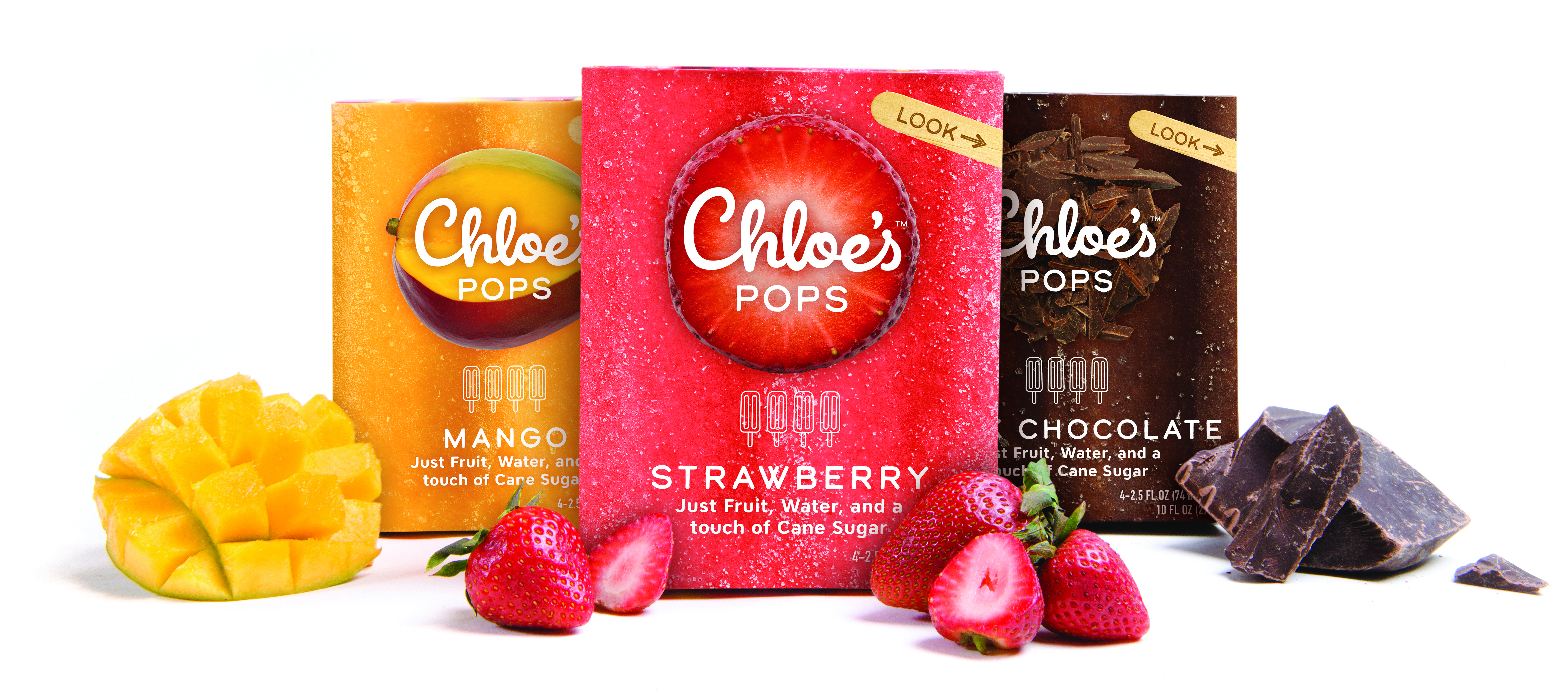 Chloe's Pops boxes in mango, strawberry and dark chocolate flavors