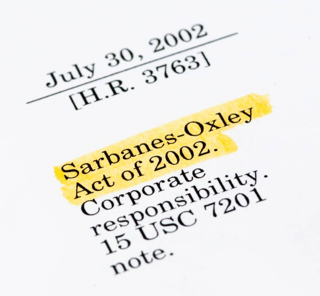 Sarbanes-Oxley Act of 2002, highlighted in the legal document.
