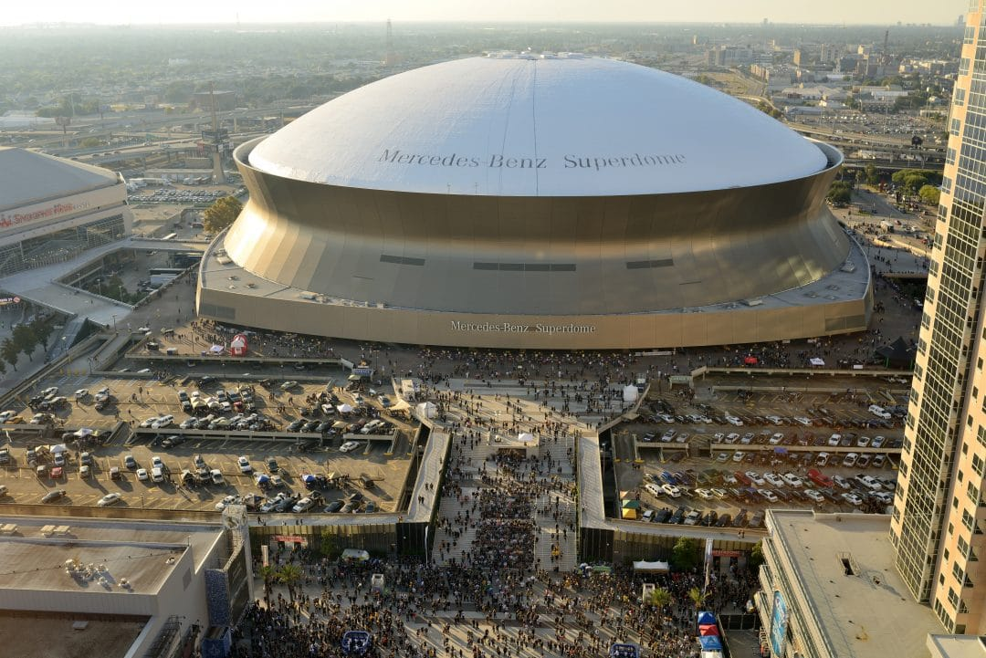 New Orleans, Louisiana, USA - October 26, 2014: On the afternoon before the Sunday Night NFL game between Green Bay Packers vs. New Orleans Saints, Mercedes-Benz Superdome, the home stadium of the New Orleans Saints football team, was filled with the fans long before the game. The game result: the Saints defeated the Green Bay Packers 44-23 at the Superdome on the Sunday night.