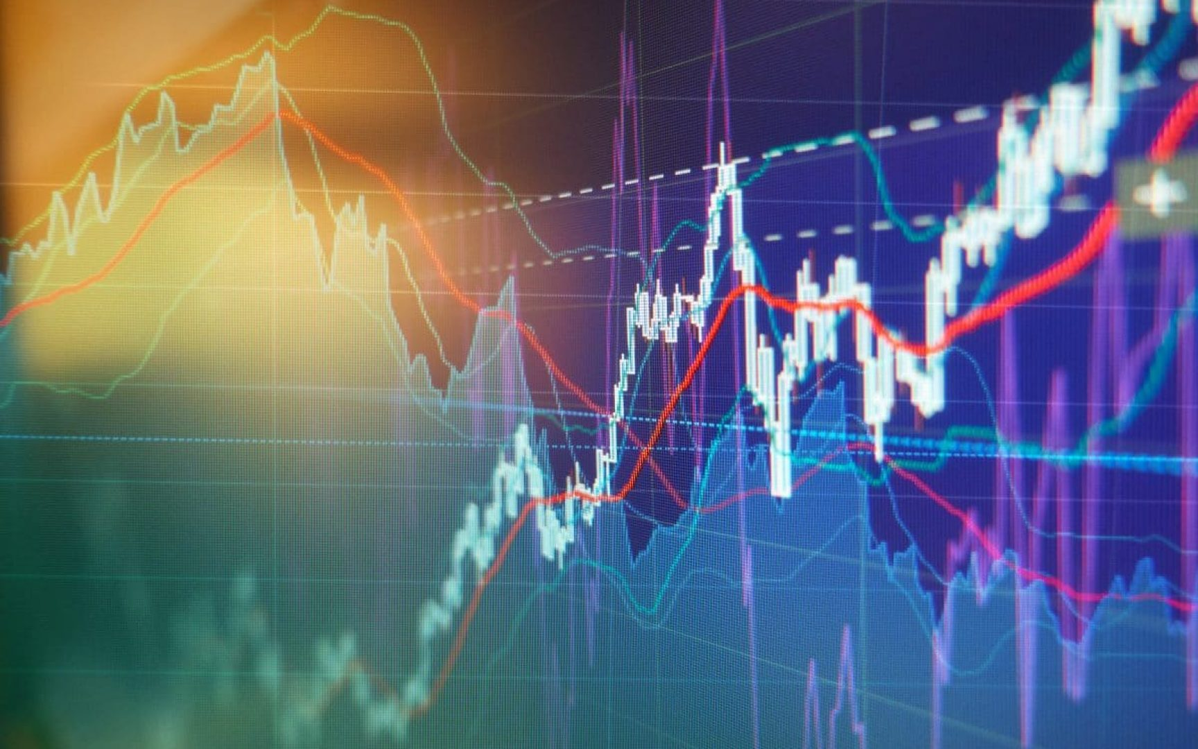 Graph charts of stock market investment trading - business background