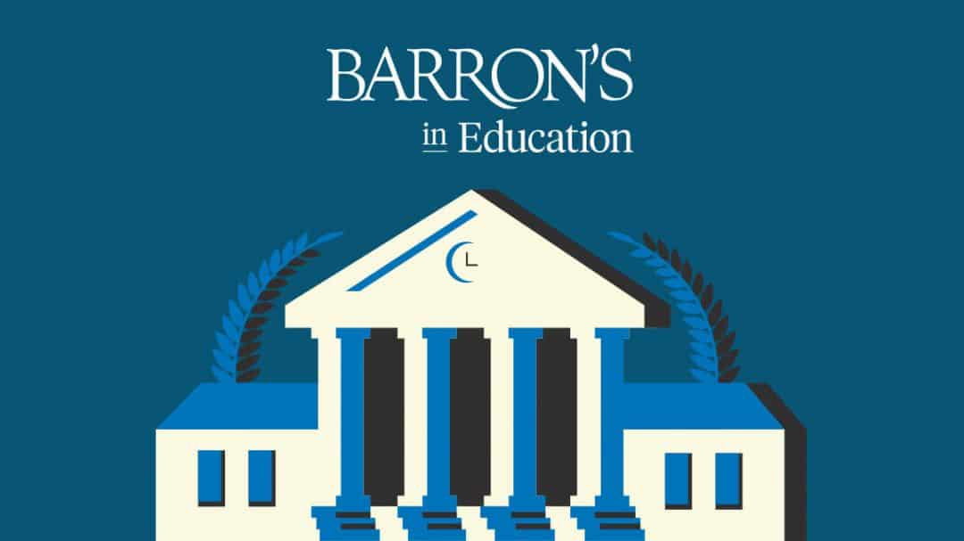 Barron's in Education written over a digital image of a white building