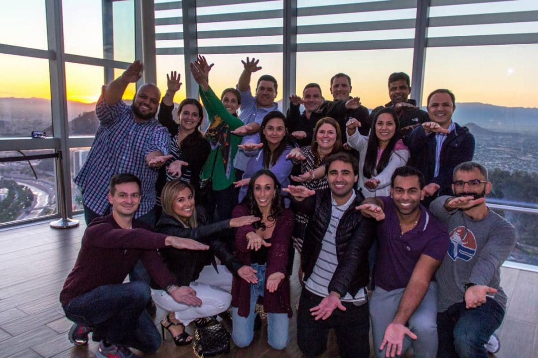 UF MBA South Florida students Gator Chomp in Santiago, Chile. Photo by Jesse B. Wright.