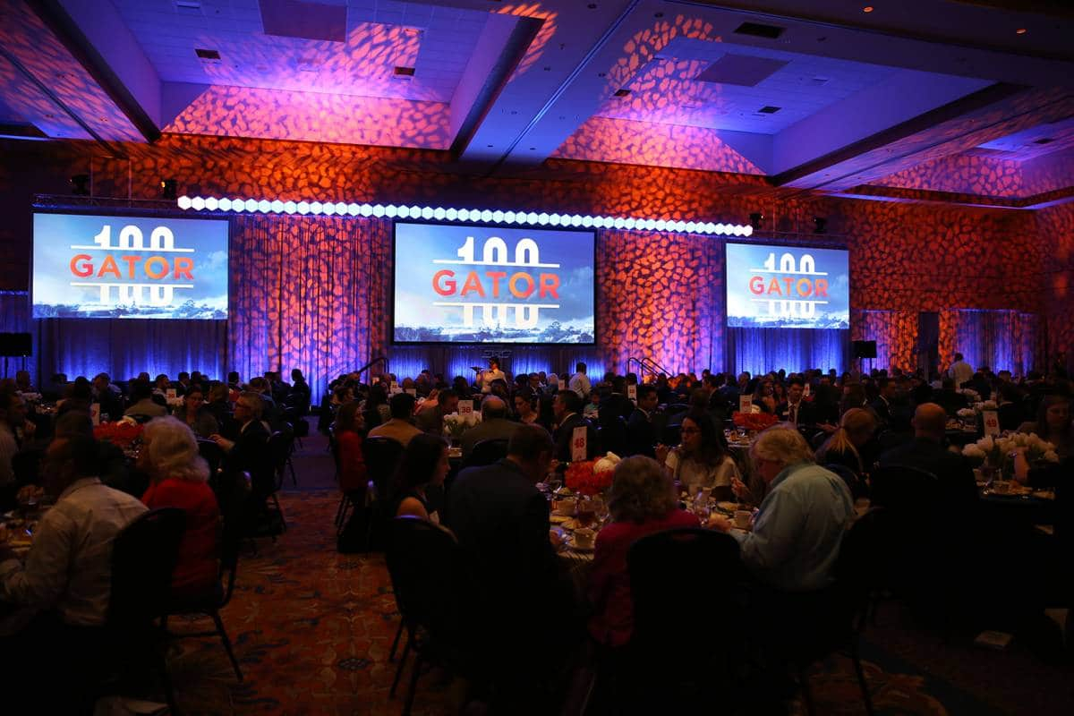 The Gator100 luncheon at the Reitz Union Grand Ballroom.