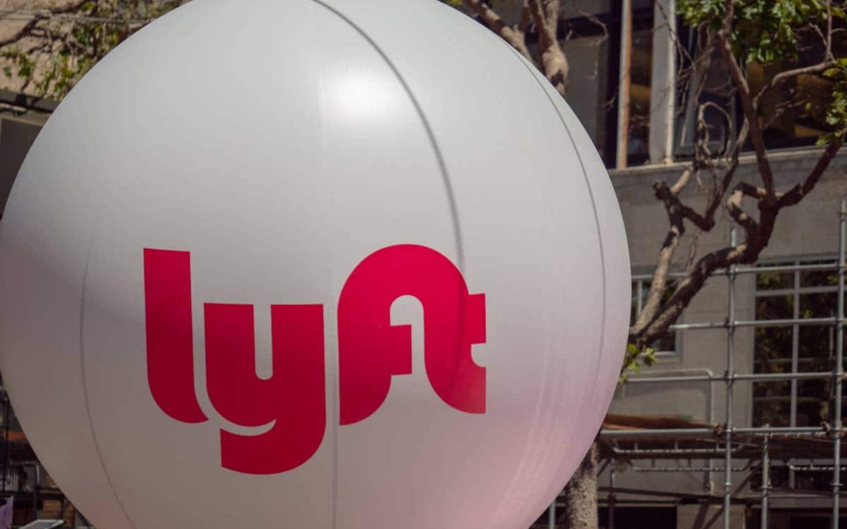 Lyft logo on a large balloon