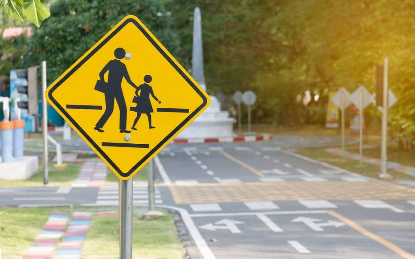 School crossing sign in a nice neighborhood