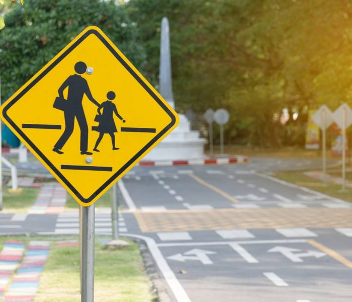 School crossing sign in a nice neighborhood
