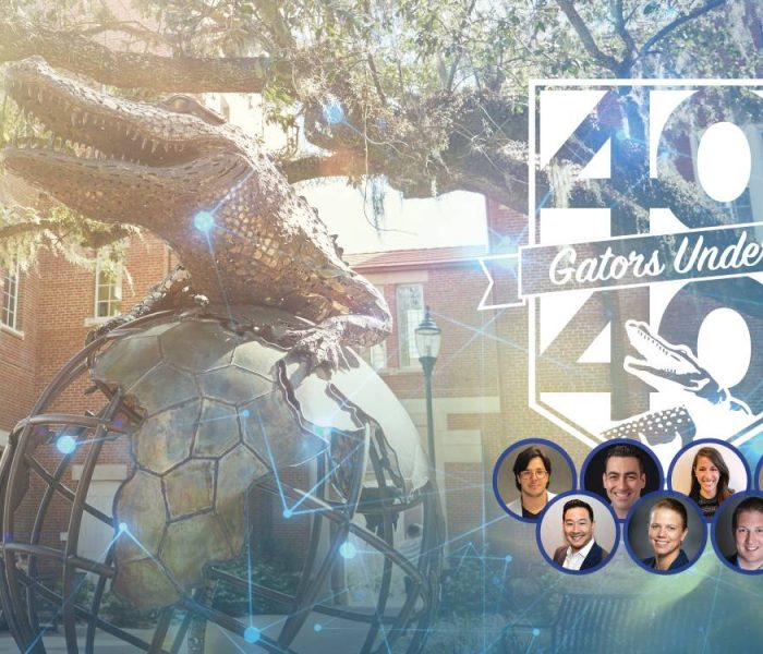 Gator Ubiquity statue with overlay of 40 Under 40 logo and seven circles with portraits of each 40 Under 40 winner.